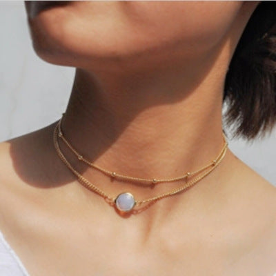 Simple Inlaid Gemstone Pendant Round Bead Chain Double Clavicle Chain Short Lady Necklace