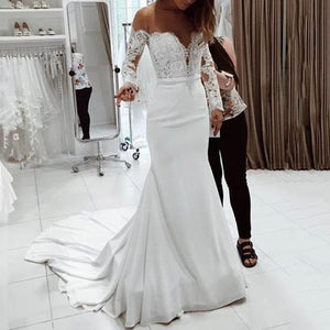 Women's Sexy One-Shoulder Lace Long-Sleeved Dress