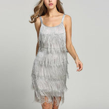 Load image into Gallery viewer, Fashion Stitching Fringed Sling Mini Dresses