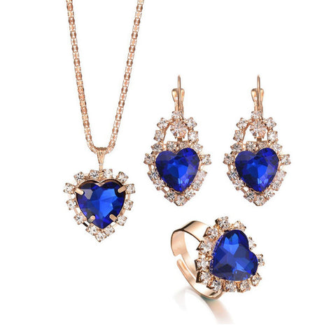 Retro Faux Crystal Necklace Ring Earrings Suit