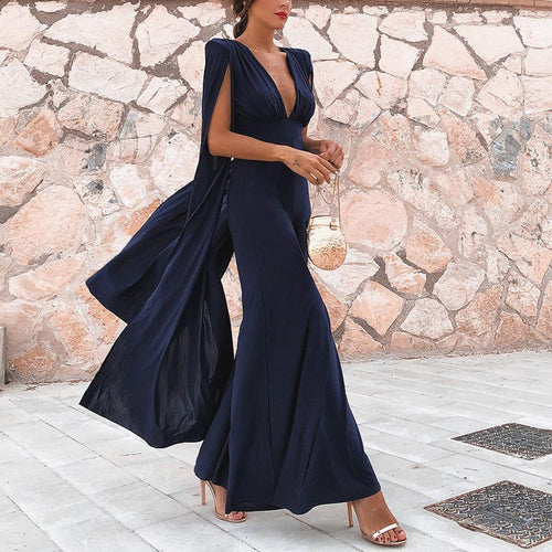 Sexy Dark Blue Sleeveless Pure Color Jumpsuits