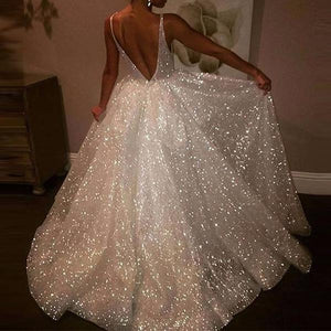 Sexy Deep V Open Back Sequins Large Swing Wedding Dress
