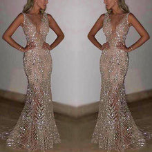 Load image into Gallery viewer, Sexy Sleeveless Deep V Sequined Evening Dress