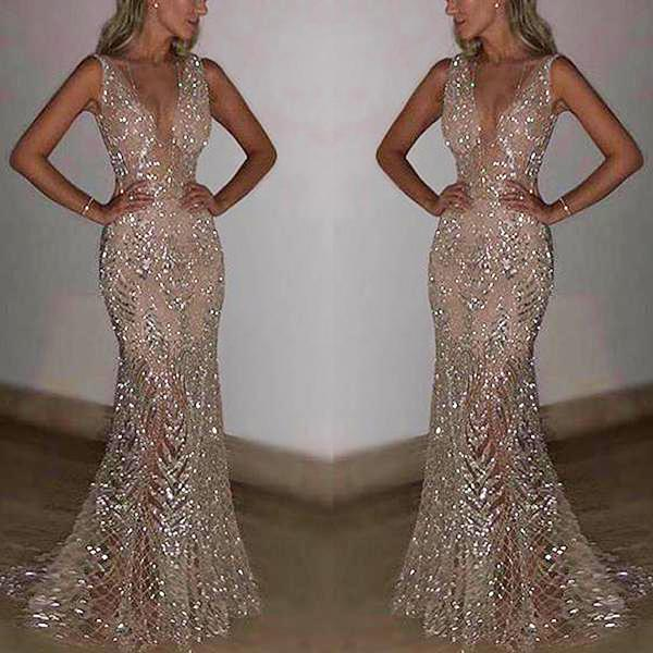 Sexy Sleeveless Deep V Sequined Evening Dress