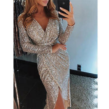 Load image into Gallery viewer, Fashion V-Neck Sparkling Split Bodycon Dress