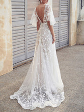 Load image into Gallery viewer, Sexy V Neck Lace Bare Back Wedding Dress