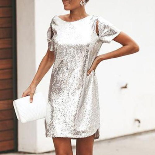 Fashion Short Sleeve Backless Sequins Mini Dress