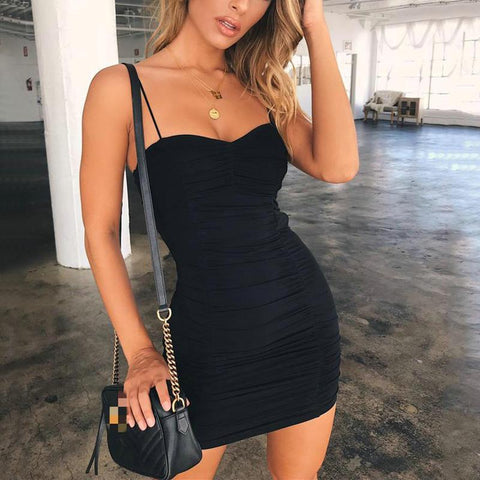 Fashion Pure Color Sexy Off Shoulder Sling Bodycon Dress
