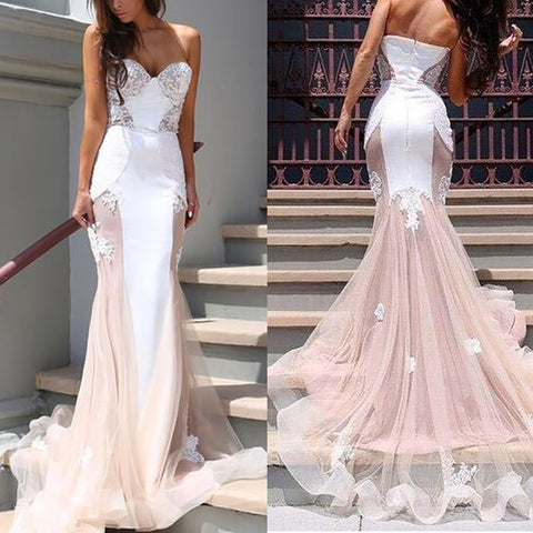 Sexy Off Shoulder Lace Splicing Party Wedding Dress