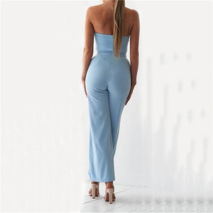 Sexy Hollow Casual Pure Color Jumpsuits