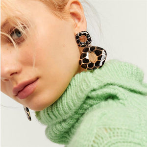 Retro Simple Printed Geometric Earrings