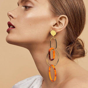 Ethnic Style Acrylic Elliptical Geometric Multi-Layer Ring Earrings