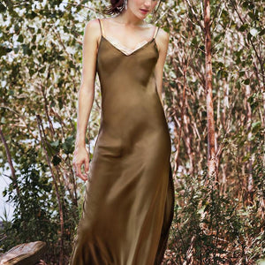 Silk Satin Halter Open Back Dress With Split
