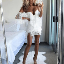 Load image into Gallery viewer, Sexy Shoulder Tassel Strap Mini Dress