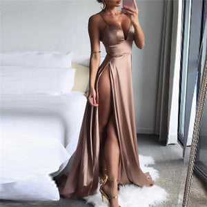 Sexy V Neck Pure Color Sling Sleeveless Maxi Dress