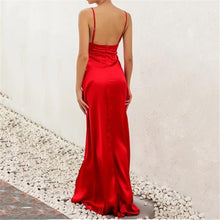 Load image into Gallery viewer, Sexy V Neck Pure Color Sling Sleeveless Maxi Dress