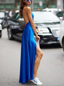 Sexy Halter Sleeveless Backless Solid Color Dress