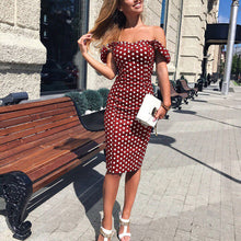 Load image into Gallery viewer, Sexy Off Shoulder Polka Dot Printed Slim Dress