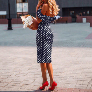 Sexy Off Shoulder Polka Dot Printed Slim Dress