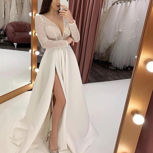 Sexy V Neck Slit See-Through Splicing Evening Dress
