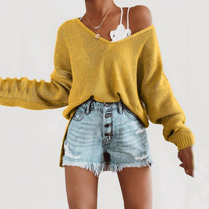 Women's Casual Pure Color Shoulder Sleeve V-Neck Knit Top