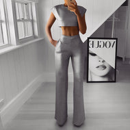 Sexy Fashion Sleeveless Pure Color Two-Piece Jumpsuit