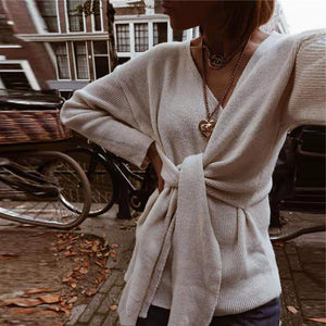 Fashion V-Neck Slim Long-Sleeved Knit Sweaters