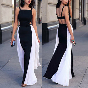 Elegant Halter Black And White Colorblocked Sling Dress