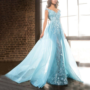 Elegant  V Neck Sleeveless Applique See-Through Floor-Length Dress