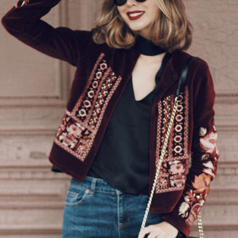 Classic Embrodery Long Sleeve Short Jacket