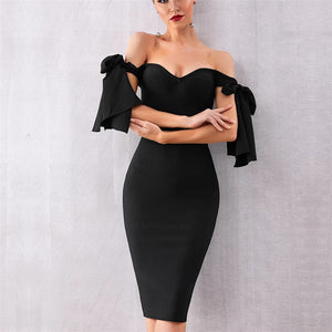 Sexy Word Shoulder Tight Solid Color Dress
