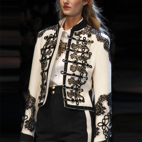Elegant Stand Collar Inwrought Splicing Button Blazer