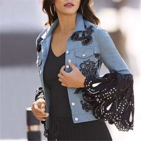 Fashion Lace Splicing Flared Sleeve Printed Jacket