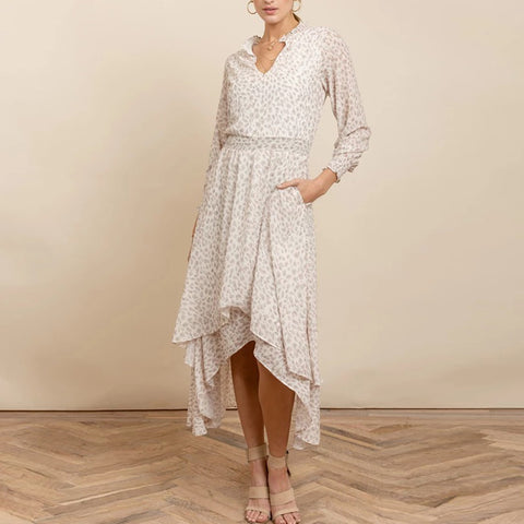 Casual V Neck Long Sleeves Print Maxi Dress