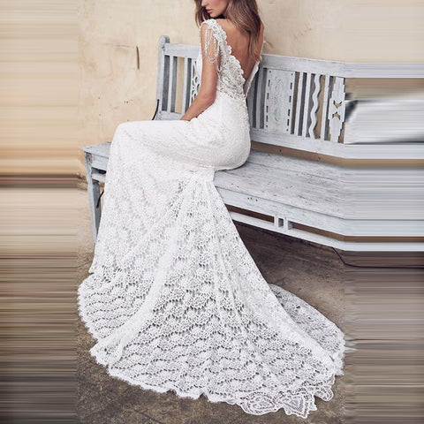 Sexy Deep V Sleeveless Lace Small Trailing Wedding Dress