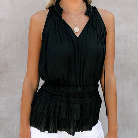 Fashion V-Neck Solid Color Elastic Waist Pleated Sleeveless Top