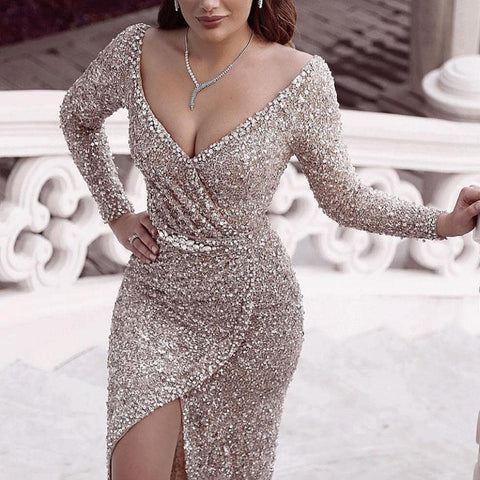 Women's Elegant Deep V-Neck Paillette Long Sleeve Evening Dress