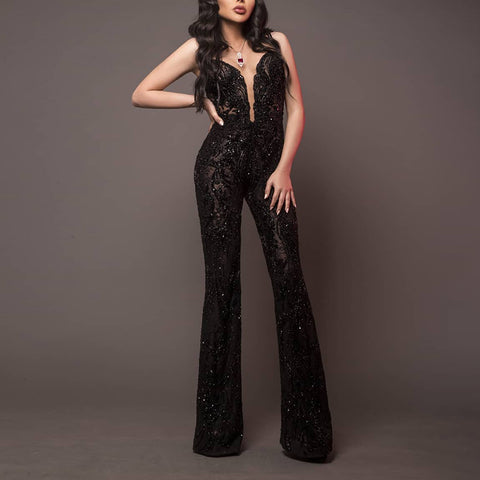 Sexy Sleeveless Off-Shoulder Lace Jumpsuit