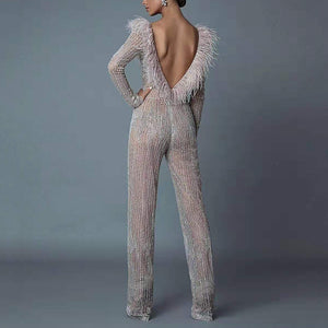 Women's Elegant Bare Back See-Through Tassel Jumpsuit