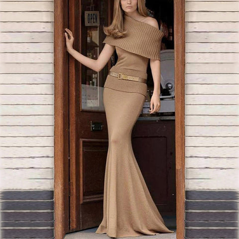 Elegant Single Off Shoulder Collar Solid Color Belt Fishtail Hem Dress