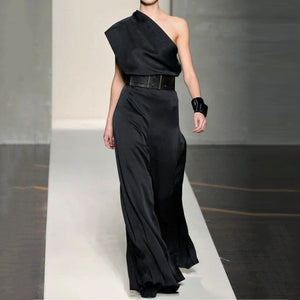 Women's Modern Pure Color Sloping Shoulder High-Waist Jumpsuit