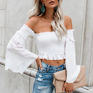 Fashion Sexy Scrub Bell Sleeves Blouse