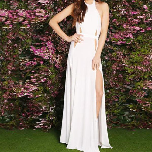 Sexy Elegant Slim Sleeveless Halter Evening Dress