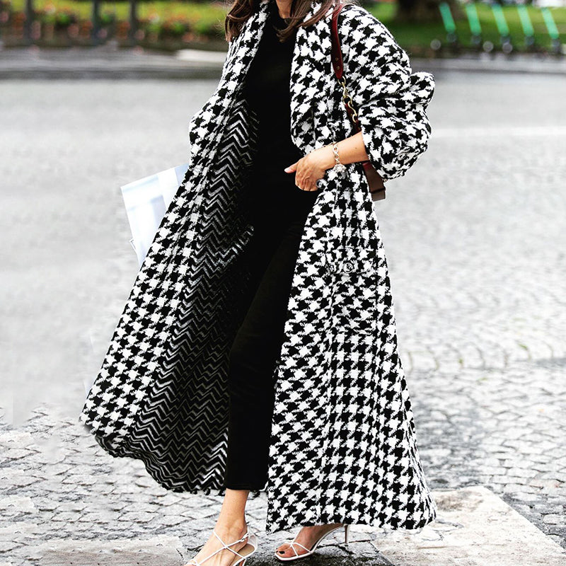 Fashion casual plaid loose long sleeve coat coat