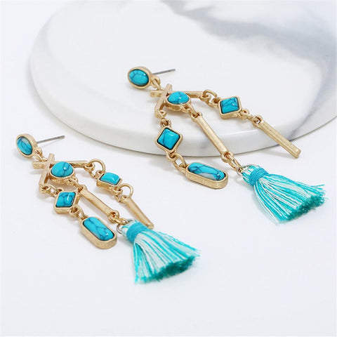Bohemian Fringe Geometric Earrings