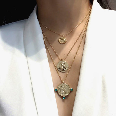 Female Retro Simple Pendant Multi-Layer Manual Necklace