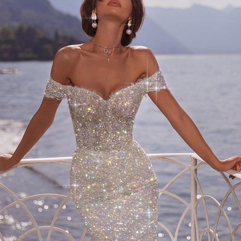 Fashion tube top shiny bag hip evening dress