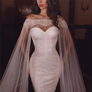 Finalpink Sexy Bead Gauze Off-the-shoulder Formal Bodycon Dress