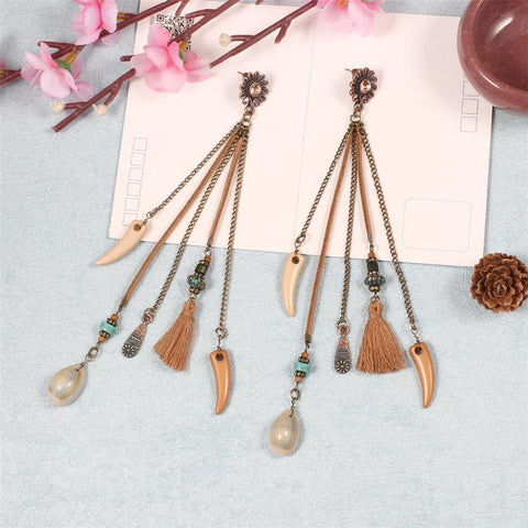 Temperament Vintage Alloy Tassel Earrings