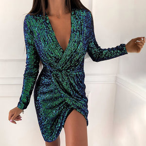 Fashion V-Neck Sequin Long-Sleeved Dress